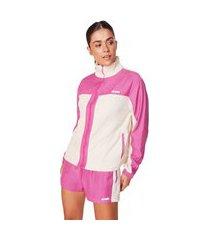 jaqueta morena rosa esportiva com recorte off-white