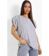 premium t-shirt met schouderpads, grey marl