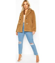 plus double breasted teddy faux fur coat, brown