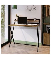 mesa escrivaninha industrial dobrável steel wood trevalla preto/amadeirado
