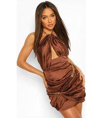 mini wikkel jurk met kettingen en halternek, chocolate