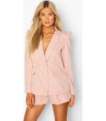 tall woven tailored puff shoulder blazer, nude
