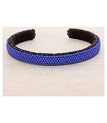 beaded cuff bracelet, 'beautiful horizon in blue' (el salvador)