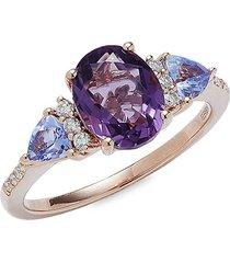 effy women's 14k rose gold & multi-stone ring/size 7 - size 7
