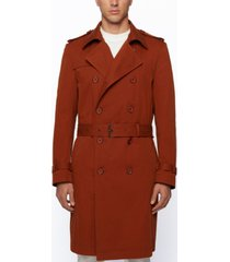 boss men's double-breasted trench coat