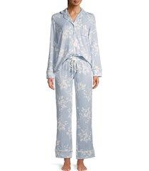 splendid women's print pajama 2-piece set - grey stripe - size xs
