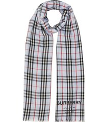 burberry embroidered vintage check lightweight cashmere scarf - blue