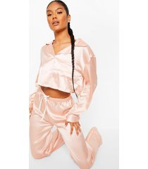 satijnen pyjama set met crop top en broek, rose gold