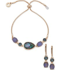 anne klein multicolor stone drop earrings & slider bracelet set