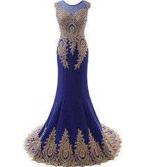 women's long mermaid royal blue prom dresses gown with gold lace,evening dress