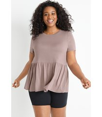 maurices plus size womens 24/7 solid babydoll tee purple