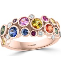 effy multi-gemstone (2-1/5 ct. t.w.) & diamond (1/10 ct. t.w.) bezel scatter statement ring in 14k rose gold