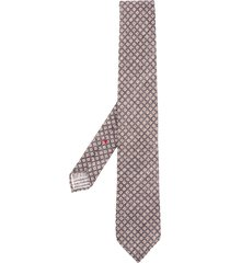 dell'oglio geometric-print pointed tie - grey