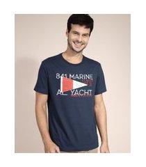 camiseta de algodão navy manga curta gola careca azul marinho