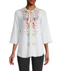 johnny was women's limon embroidered cotton blouse - white - size m