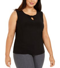 nine west plus size ruched-knot keyhole top