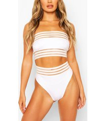 cape verde mesh detail bandeau high waisted bikini, white
