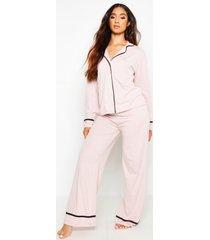 jersey pyjama met lange mouwen en knoopsluiting, blush