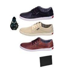 3 pares sapatenis de couro masculino com relógio e carteira selten