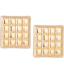 charter club gold-tone check square stud earrings, created for macy's