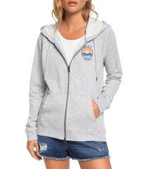 women's roxy wait for waves hoodie, size medium - grey