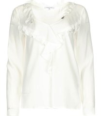 blouse met ruches vivian  wit