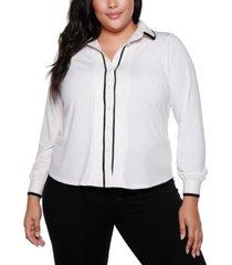 belldini black label plus size button front long sleeve top
