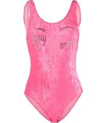 chiara ferragni flirting velvet swimsuit - pink