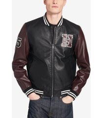 03fad27d tommy hilfiger men's big & tall faux-leather varsity jacket, created for  macy's