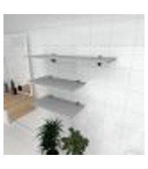 kit 3 prateleiras banheiro em mdf suporte tucano cinza 2 60x30cm 1 90x30cm modelo pratbnc15