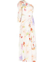 peter pilotto floral print draped gown - white