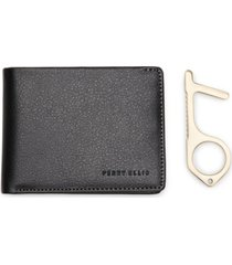 perry ellis portfolio men's pebbled faux-leather bifold wallet with multitool