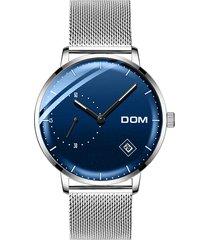 orologio da polso al quarzo da uomo, cinturino in acciaio inossidabile, senza numero di quadrante, per gli uomini