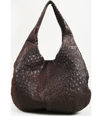brown ostrich leather hobo bag
