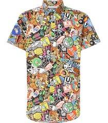 moschino designer shirts, allover printed cotton short sleeve men's shirt