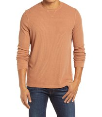 men's 1901 thermal crewneck sweatshirt, size x-small - brown
