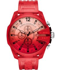 diesel men's chronograph megachief red transparent polyurethane strap watch 51mm