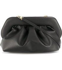 themoirè pleated faux-leather clutch bag - black