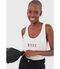 regata roxy logo off-white - off white - feminino - dafiti