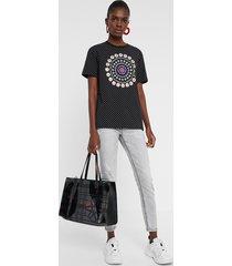 polka dots and mandala t-shirt - black - xl