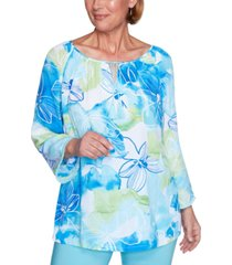 alfred dunner women's missy sea you there watercolor floral top