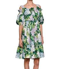 2017 hydrangea floral summer dress women cold cut out shoulder green leaves