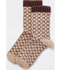 river island womens brown ri monogram socks
