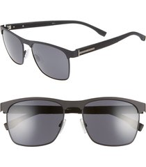 men's boss 57mm rectangle sunglasses - matte black