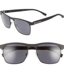 men's boss 57mm rectangle sunglasses - matte black