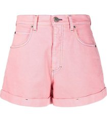 pink denim shorts with logo embroidery m missoni