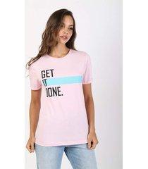 t-shirt get it done - rosa - feminino - dafiti