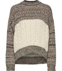 heavy melange knit gebreide trui beige ganni
