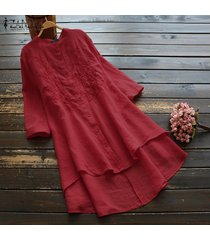 zanzea camisas bordadas para mujer vestido asimétrico alto bajo mini vestido tallas grandes -rojo