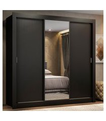 guarda roupa casal madesa lyon 3 portas de correr com espelho 2 gavetas preto